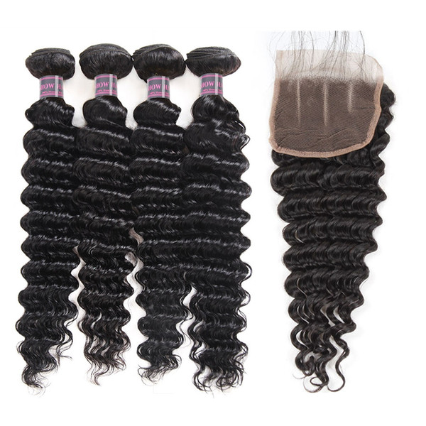 indian deep wave human hair bundles with closure peruvian hair 4 bundles malaysian body wave kinky curly hair extensions