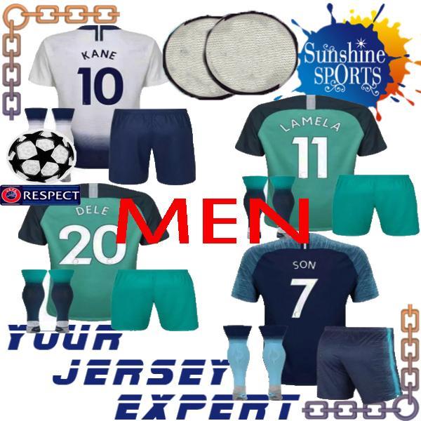 conjunto masculino de fútbol Jersey ucl 18 19 7 SON 10 KANE 20 DELE 23 ERIKSEN 11 LAMELA 2018 2019 adulto kit Shorts + calcetines camisa Hogar lejos tercero
