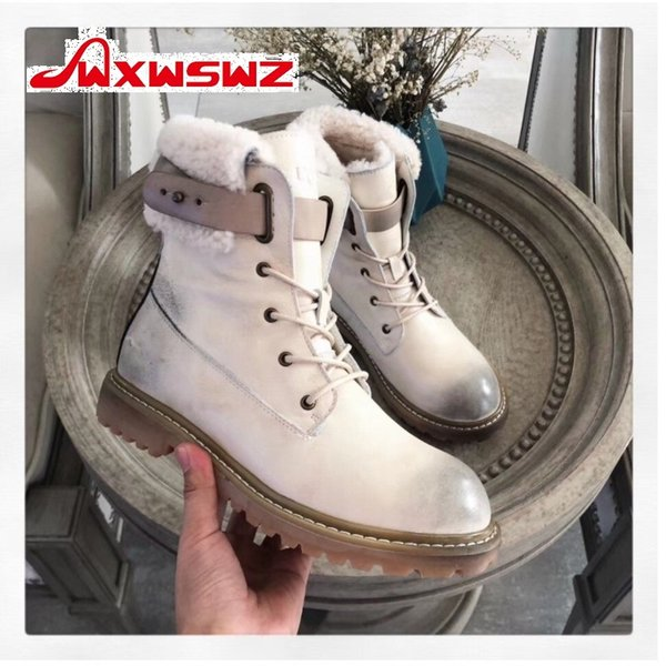 wxwswz 2019 snow boots women's fur all-in-one leather flat short tube warm cotton shoes motorcycle boots, Black