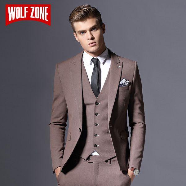 Sale Brand Mens Suit Jacket Formal Business Blazer Men Groom Three Pieces Slim Fit Party Clothing Single Button Wedding Dress C18122501