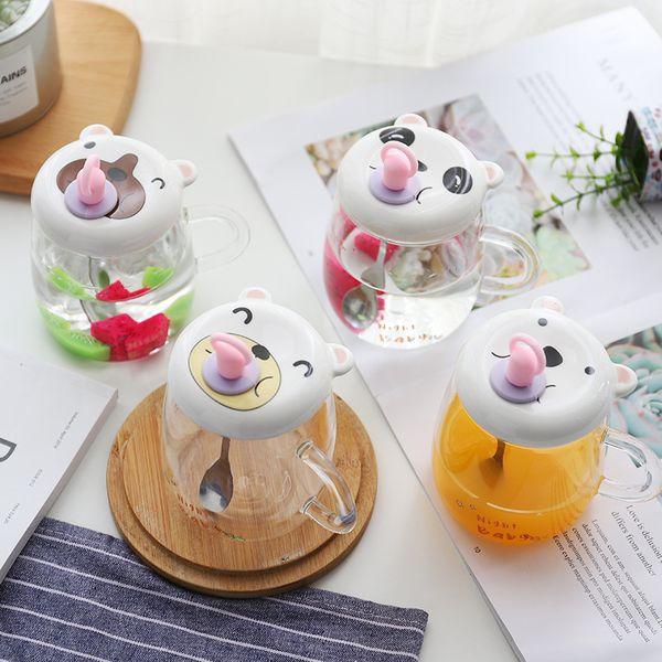360ML chupete creativo taza de leche desayuno de dibujos animados vidrio transparente coreano lindo animal taza de café tazas divertidas tazas de los estudiantes