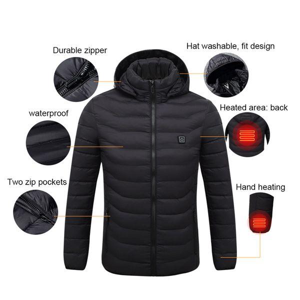 veste de chauffage hiver intelligent USB chauffage électrique température constante doudoune veste à manches longues à capuche gilet vêtements chauds
