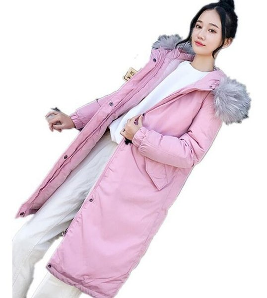 2018 new fashion Long section cotton women's winter new gloves Slim hooded women's Korean version of the down jacket coat wholesale