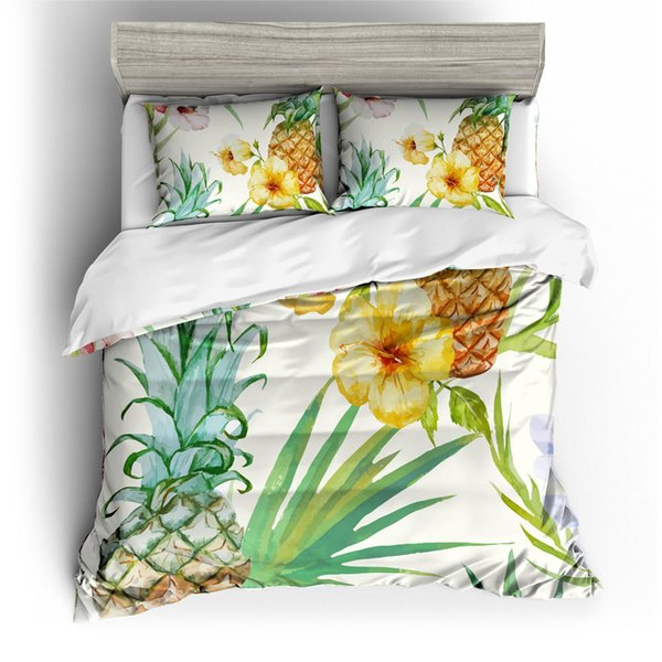 Pineapple Watercolor Painted Bedding Set King Flower Artistic Duvet Cover Queen Home Textile Double Single Bed Cover with Pillowcase