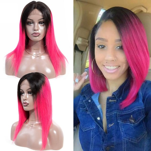 Cheveux droits 4 * 4 Dentelle Perruque Frontal Rose 100% Cheveux Humains Brésiliens Soyeux Cheveux Raides Prépluckés Remy Perruques Cheveux Rose Couleur