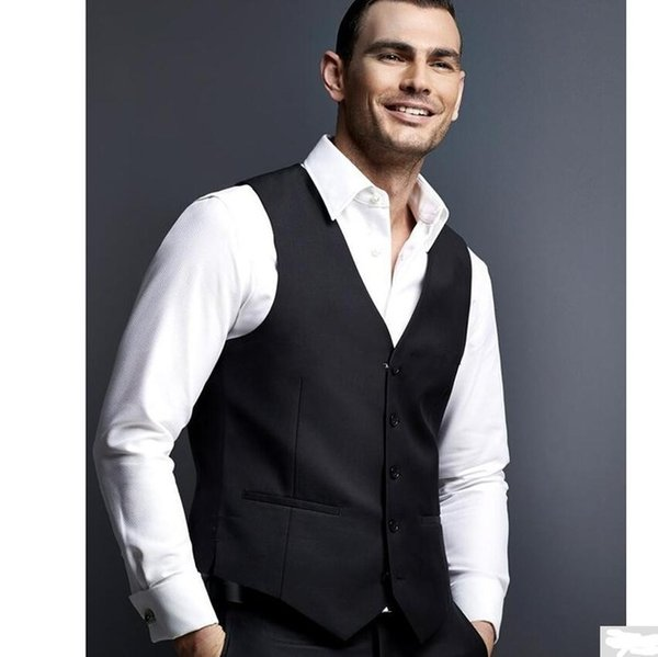 New Classic Groom Vests Black Groomsmens Best Man Vest Custom Made Size and Color Five Buttons Wedding Prom Dinner Waistcoat