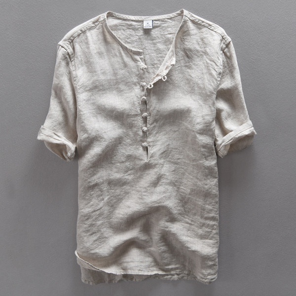 Italy brand simple fashion men shirt casual linen shirt men solid flax breathable summer shirt mens clothing Camisa