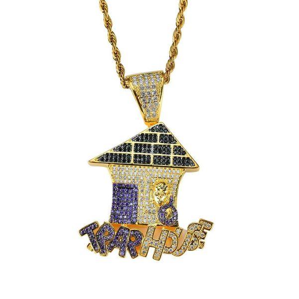 hip hop trap house colorful diamonds pendant necklaces for men luxury letters house necklace jewelry gold plated copper zircons Cuban chain
