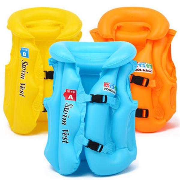 Neue Stil Kinder Kinder Babys PVC Aufblasbare Schwimmweste für Outdoor Sandstrand Schwimmen Treiben Bootfahren Wasserski Sicherheit Tragen