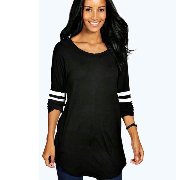 Estampado de rayas Casual Negro para mujer Top Tees 2019 Primavera Otoño Nueva camiseta cuello redondo manga larga ropa de trabajo camiseta