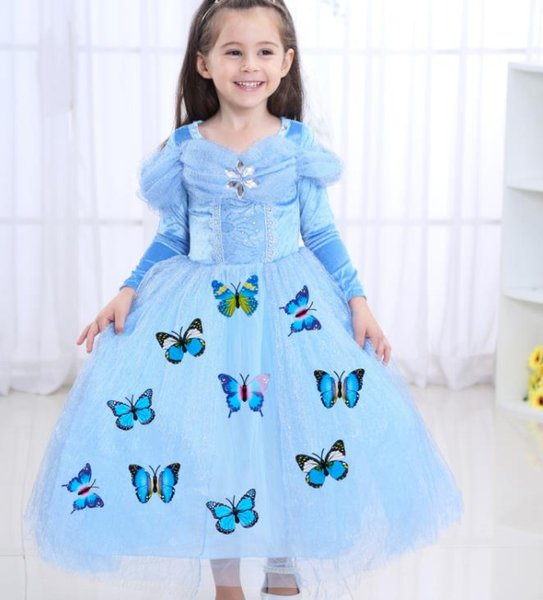 2019 kids clothes Children's Clothing Cinderella Long Sleeve Princess Dress Girl Autumn Ice Romance Performance Costume Dress