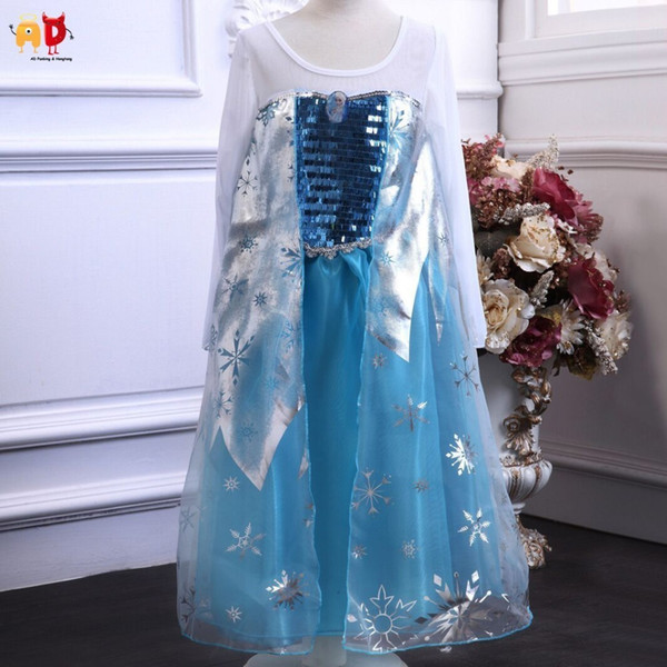 good quality good Princess Frozen Girls Dress Long to Ankle Kids Clothes Children Costume Clothing Girls Party Pageant dresses