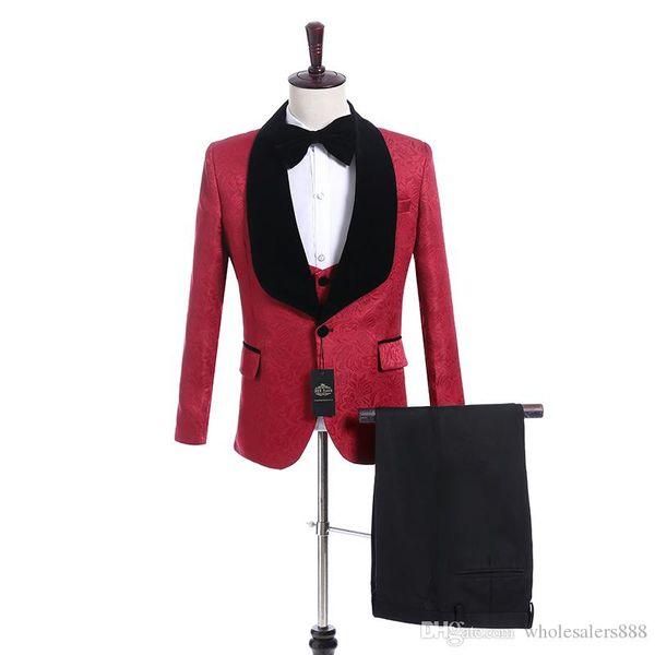 New Style Groomsmen Red Pattern Groom Tuxedos Shawl Black Lapel Men Suits Side Vent Wedding/Prom Best Man ( Jacket+Pants+Vest+Tie ) K918