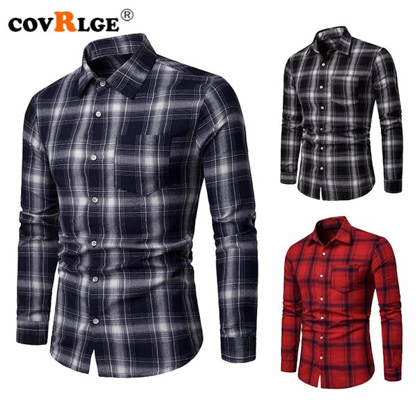 covrlge men's casual plaid shirts pocket long sleeve slim fit comfortable shirt leisure styles  shirt mcl203 - from $21.76