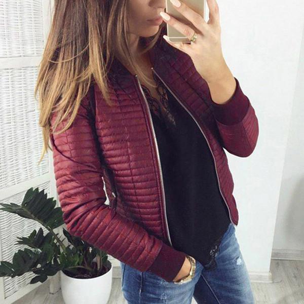 Black Slim Outwear Women Winter Jacket Stylish Coat Long Sleeve Zipper Up Casual Streetwear