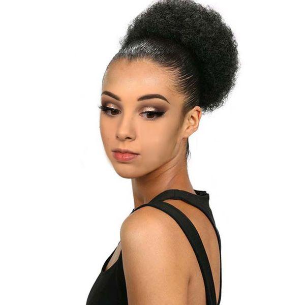 Cheveux Chignon Synthétique Afro Kinky Bouclés Cordon Court Pièces de Cheveux Clip de Bun dans les extensions de cheveux