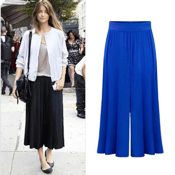 2017 new arrival Plus size XL-6XL Summer Women Wide Leg Loose Dress Pants Female Casual Skirt Trousers Capris Culottes