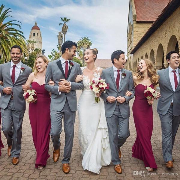 Yüksek Kalite Şerit Slim Fit Düğün Smokin Iki Düğme Siyah Çentikli Yaka Sağdıç Giymek Terzi 2 Parça Suit Setleri 2019