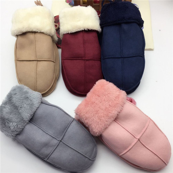 Hot Selling 1 Pair Autumn Winter Suede Leather Thick Warm Gloves Fur Pompom Rabbit Style Glovers Hand Warmer Handwear D19011005
