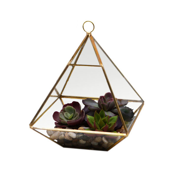 Fat Pyramid Hanging Terrarium Geometric Succulent Planter Micro Landscape Greenhouse for Fern Moss Glass Display Vase Black Gold