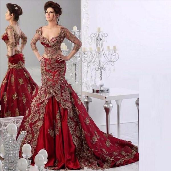 The new 2019 New long red mermaid gowns Arab dubai kaftan formally elegant gold decals party dress evening dresses vestidos de festa