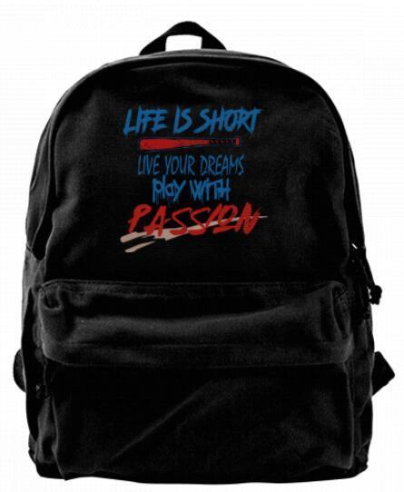 Live your dreams play with passion Canvas Shoulder Backpack For Men & Women Teens College Travel Daypack Knapsack Laptop Designer bag