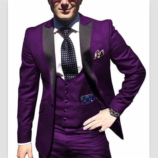 2018 On Sale 3 pezzi One Button Red cappotto immagine del pantalone immagini Classic Fit uomo abiti da sposa Smoking smoking Custom Suit (Jacket + Pants + Vest)