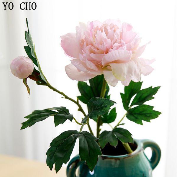 Artificial & Dried Flowers YO CHO 2 Heads 60cm Peony Artificial Flower Silk Peonies Rose Flower Pink White Peonies Bouquet Wedding Home
