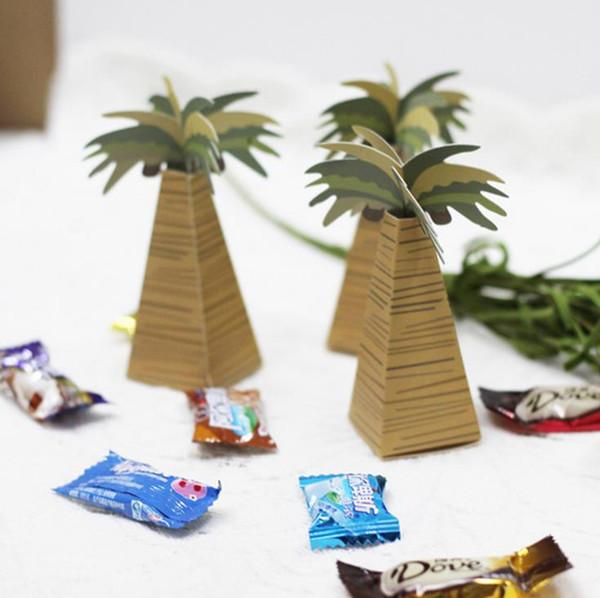 200 UNIDS Palm Tree Favores de Boda Caja de Dulces Creativas Cajas de Regalo de DIY Titulares para Invitados Paquete de Suministros de Fiesta
