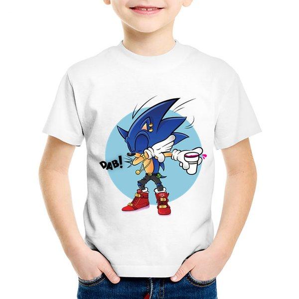 a7cba327 Cartoon Print Dabbing Hipster Sonic The Hedgehog Children T-shirts Kids  Summer Tees Boys/