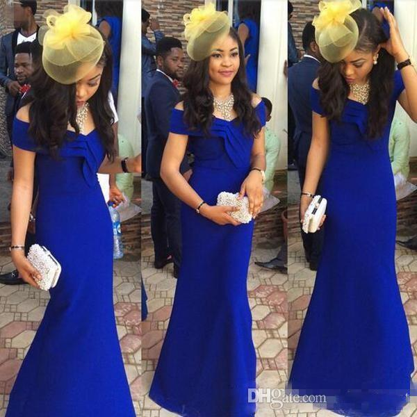 Royal Blue 2K19 Arabic Kaftan Celebrity Evening Dresses 2019 Mermaid Style Off Shoulder Plus Size Long Satin Cheap Simple Cocktail Gowns