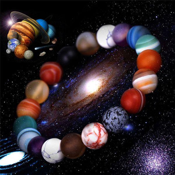 evren Dokuz Gezegenler akik doğal taş boncuklar bileziği mens bilezik lüks tasarımcı takı kadın bilezik bilezik