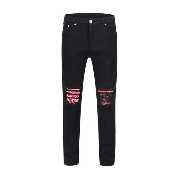 Brand Jeans Black Ripped Jeans Men Holes Denim Skinny Slim Fit Jean Pants Scratched Biker blue