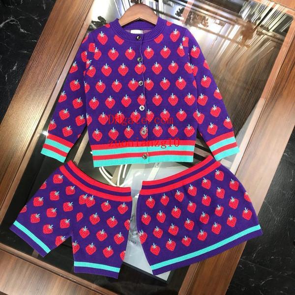 Ropa de niños tejer falda del suéter de fresa Cardigan coat Sets Chica Trajes de moda Pantalones cortos de verano chaquetas para niños ropa de niña pequeña MY27