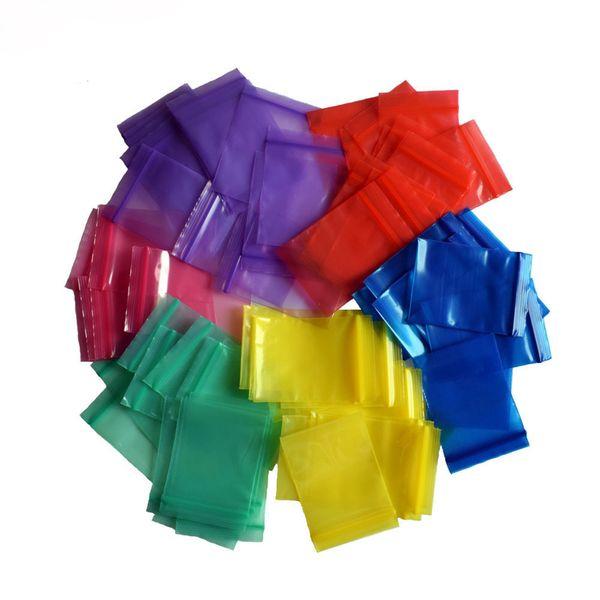 100 Pz / pacco 7 Taglie Mini Zip Lock Baggies Borse per imballaggio in plastica Piccola chiusura lampo in plastica Sacchetto con cerniera Sacchetti di stoccaggio per gioielli Tabacco