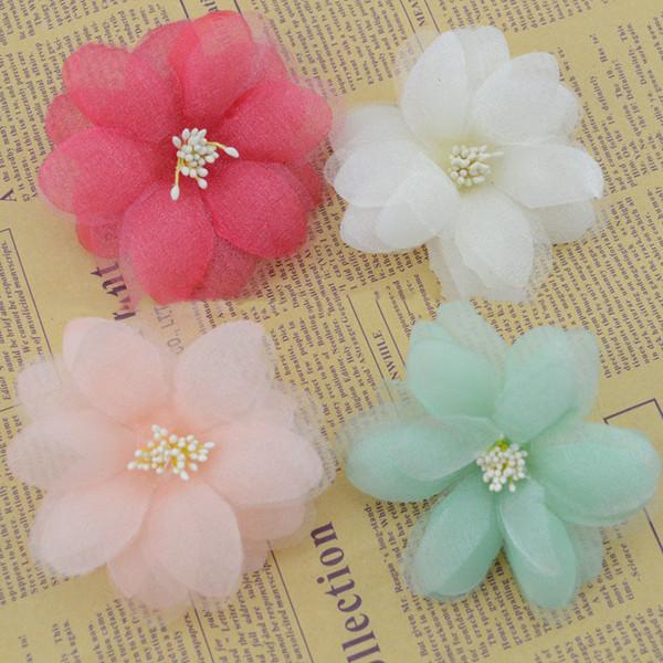 Flores artificiais novo quente bonito fio de flores falsas simulação flor de seda acessórios para o cabelo broche de broche de bricolage ac