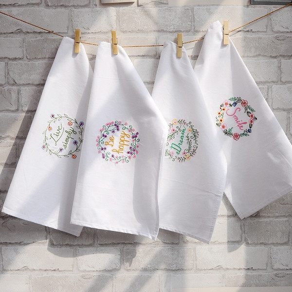 best selling 5psc hand embroidered napkin white wine cup towel cotton dish towel cover cloth cushion 4570cm