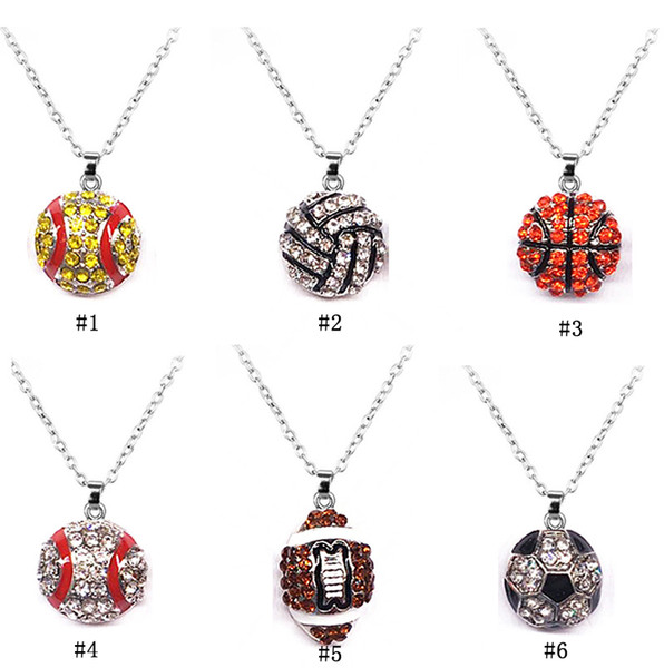 New Sports Ball necklaces crystal softball baseball basketball football soccer volleyball rugby Pendant chains For women Men Fashion Jewelry