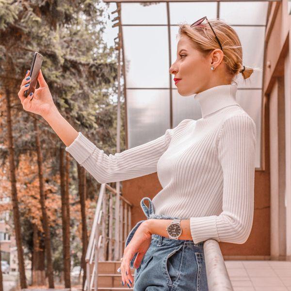 Venda Em Ins 2019 Primavera Mulheres Camisola de Malha de Gola Alta Camisas Casuais Jumper Macio Moda Femme Fino Elasticidade Pullovers