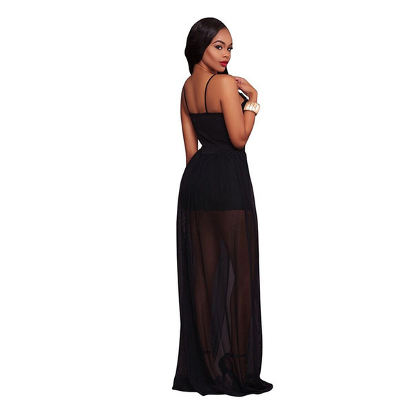 Long Jumpsuits Summer Short Overalls Black Sheer Mesh Embroidery Sleeveless Playsuit Chiffon Club Party Womens Rompers