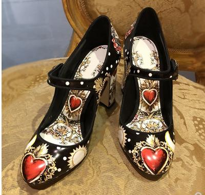 2019 Red White Black New Love Print Mary Jane Pumps Vintage Style Womens Single Shoes Hot Woman