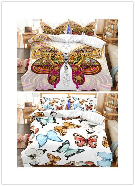 Butterfly Bedding Set King size 3d cartoon Print Duvet Cover set with pillowcase 3pcs kids Bedbedline
