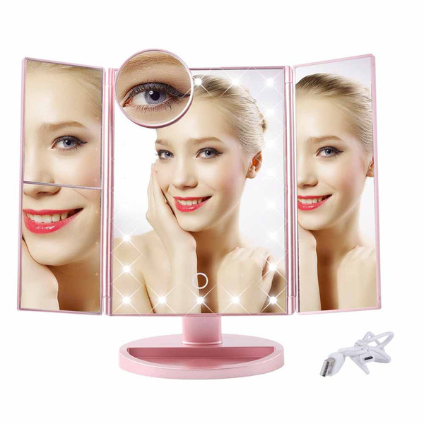 top popular 22 LED Touch Screen Makeup Mirror 1X 2X 3X 10X Magnifying Mirrors 4 in 1 Tri-Folded Desktop Mirror Lights Health Beauty Tool 2021
