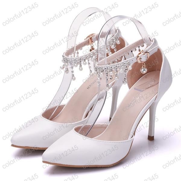 2019 vente chaude femme chaussures à franges blanches plate-forme à talons hauts cheville sandales en satin de mariage pour femme Chaussures de bal pour la mariée