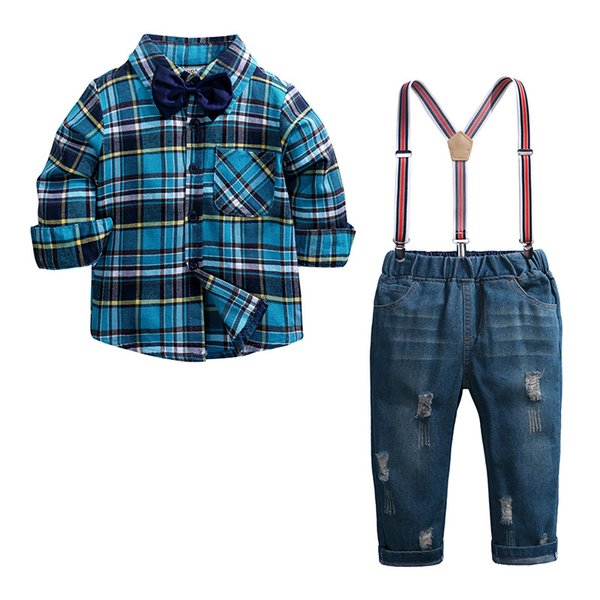2019 Fashion Baby Boys Clothing Set Kids Long Sleeved Plaid Cotton Shirt+Suspender Pant Suit 2Pcs Sets Children Outfits Kids Clothing