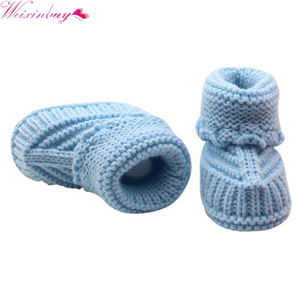 Handmade Newborn Baby Crib Shoes Infant Boys Girls Crochet Knit winter warm Booties TQ