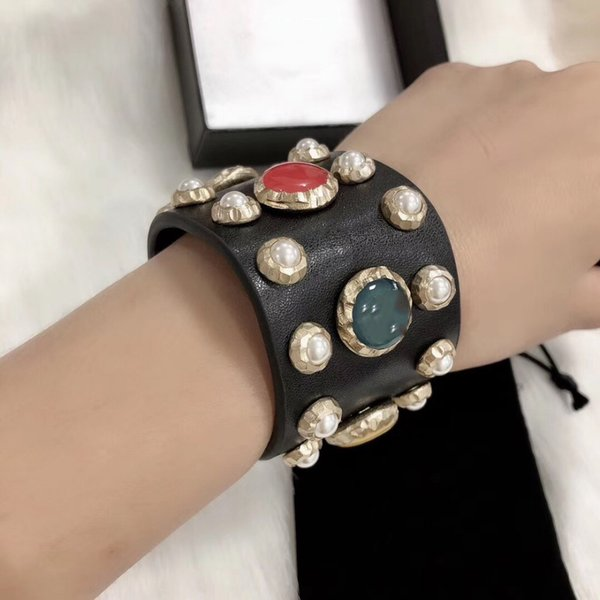 Hot Brand Gold Color Fashion Jewelry For Women Leather Colorful Beads Bracelet Fashion Praty Jewelry C Letter Genuine Leather