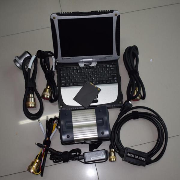 Boa Qualidade MB ESTRELA C3 Multiplexador Cabos Completos para Carros e Caminhões de Interface de Diagnóstico Com Software SSD em cf19 laptop