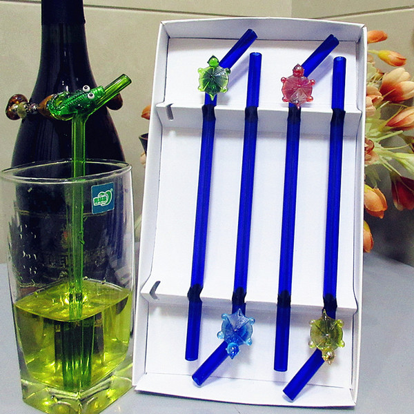 High boron silicon heat resistant blue glass drinking straw wedding tableware glass turtle sculpture decorative curved straw