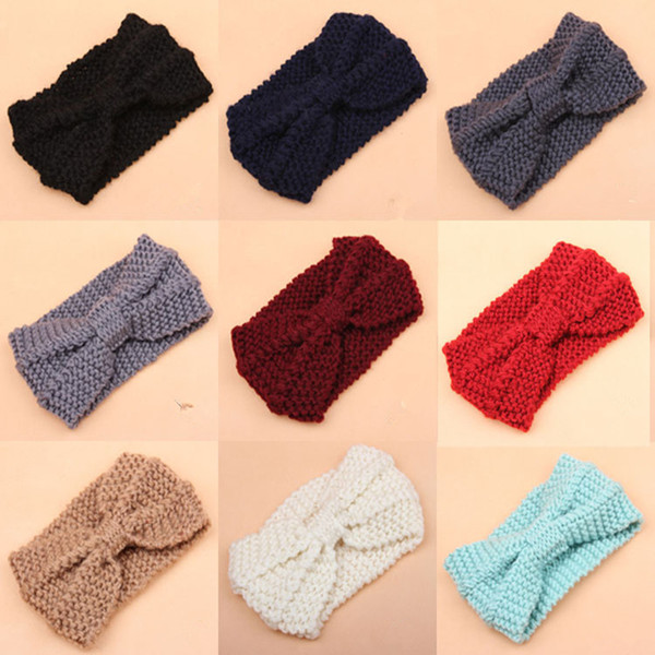 Winter Thick Knit Headband Turban Ear Warmer Warm Crochet Bow Headband For Lady Women Head Bands Knitting Headwraps Hair Accessories JLE185